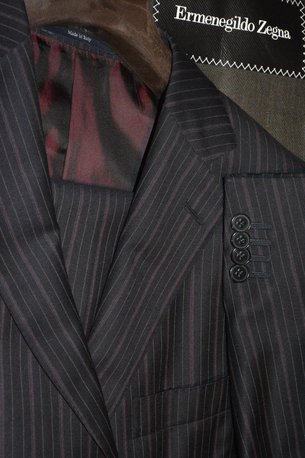 2895 Ermenegildo Zegna Navy Striped Wool Suit 38R 33W Nieman Marcus