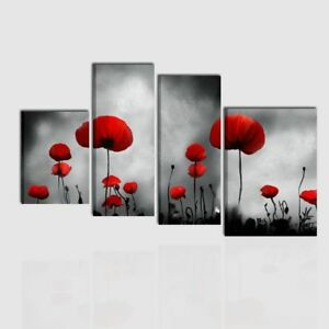 Quadri moderni dipinti a mano olio su tela grigio rosso for Quadri moderni fiori dipinti a mano