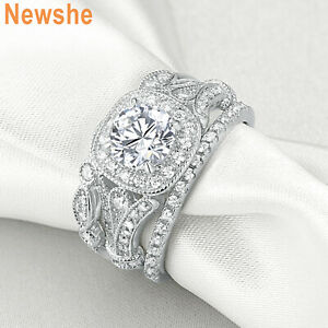 Newshe Wedding Engagement Ring Set For Women 2ct Round Cz 925 Sterling Silver