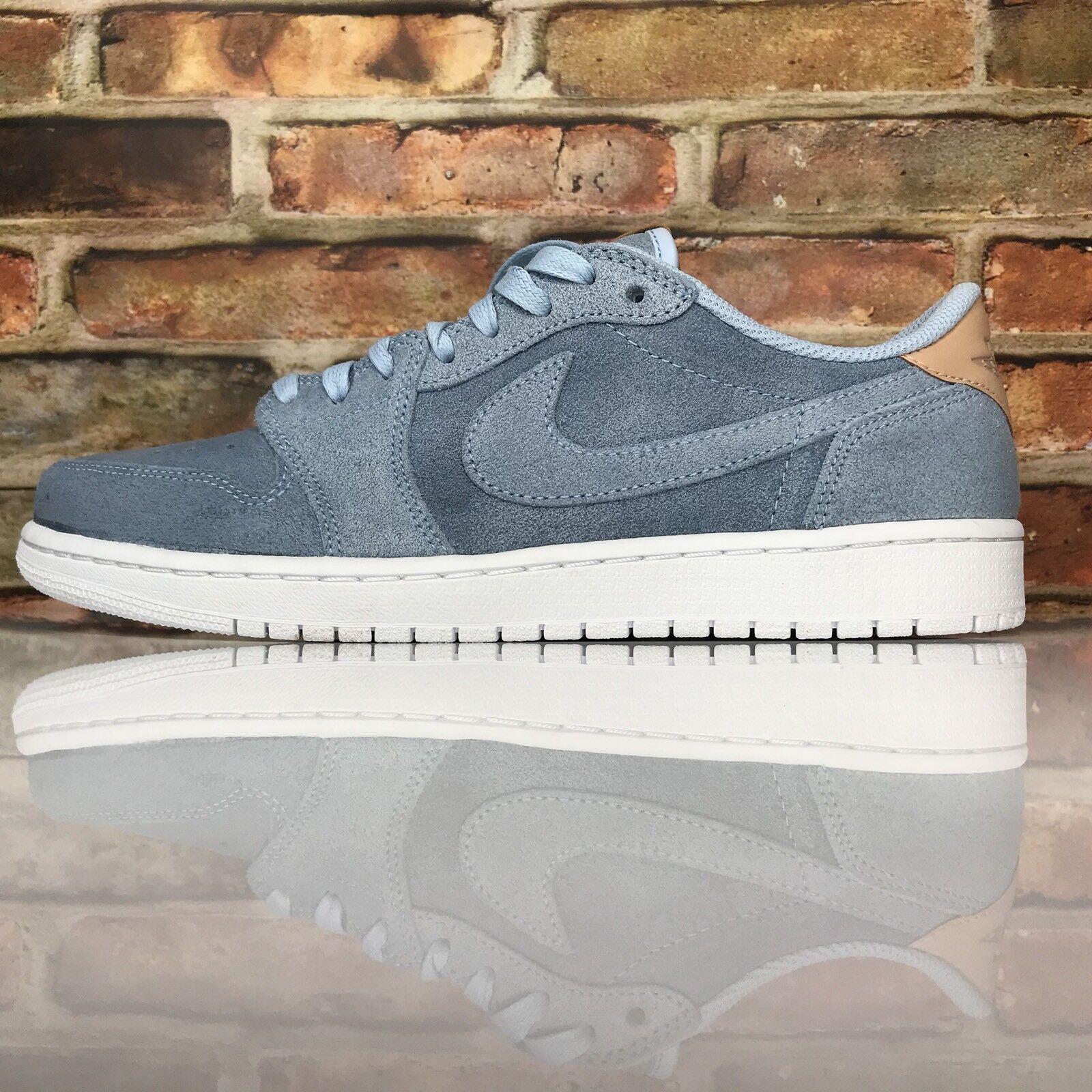 Luft Jordan 1 Retro Niedrig Og Premium Herren Größe 10 Eisblau Hellbraun Schuhe