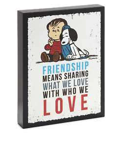 Hallmark-Peanuts-Linus-and-Snoopy-Friendship-Wood-Quote-Sign-New