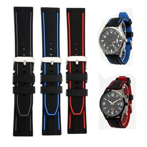 Soft-Silicone-Rubber-Watch-Strap-Sport-Diver-Waterproof-Watch-Band-20mm-26mm-Men