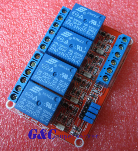 24V 4-Channel Relay Module with Optocoupler H//L Level Triger for Arduino M34