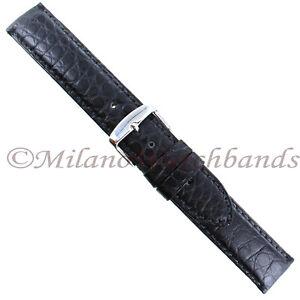 18mm-Hadley-Roma-Black-Matte-Genuine-Alligator-Padded-Stitched-Mens-Band-MS2010