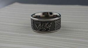 Image Is Loading Wide Titanium Celtic Knot Amp Welsh Dragon Wedding