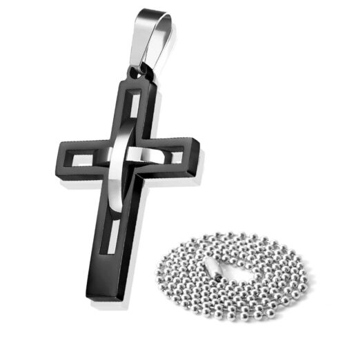 Men/'s Black Silver Double Hollow Cross Stainless Steel Pendant Necklace Gift NEW