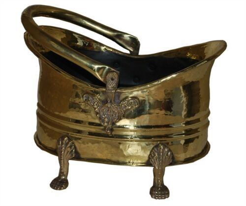 Traditional Brass seau à charbon en laiton charbon hotte charbon Transporteur Fireside Seau Log