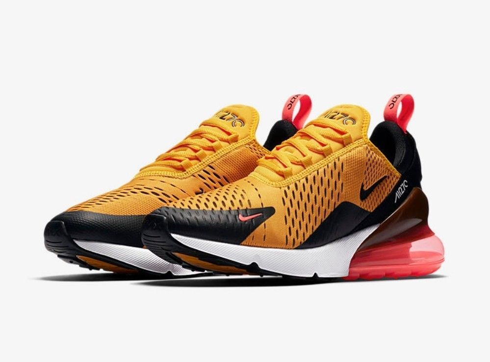 NEW Nike Air Max 270 Tiger Black University gold Hot Punch White AH8050-004