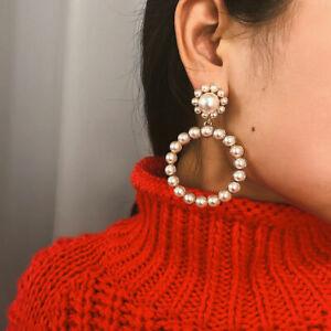 Trendy-White-Pearls-Hoop-Dangle-Earrings-Women-Pearl-Circle-Fashion-Jewellery