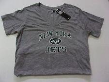 NWT Womens $32 New York Jets Cute Heather Gray Short Sleeve V-Neck Shirt XXL 2XL