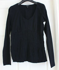 H & M Mama small black smocked maternity top V neck long sleeve crinkle cotton