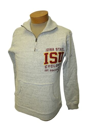Ladies Iowa State Cyclones 1//4 Zip Up Long Sleeve Pullover Pocketed Sweater NEW