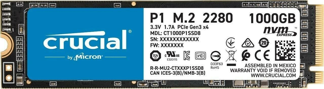 Crucial P1  NAND NVMe PCIe M.2 1TB 3D Solid State Drive CT1000P1SSD8. Buy it now for 95.99
