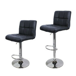Set-Of-2-PCS-Adjustable-Bar-Stools-PU-Leather-Barstools-Swivel-Pub-Chairs-Black