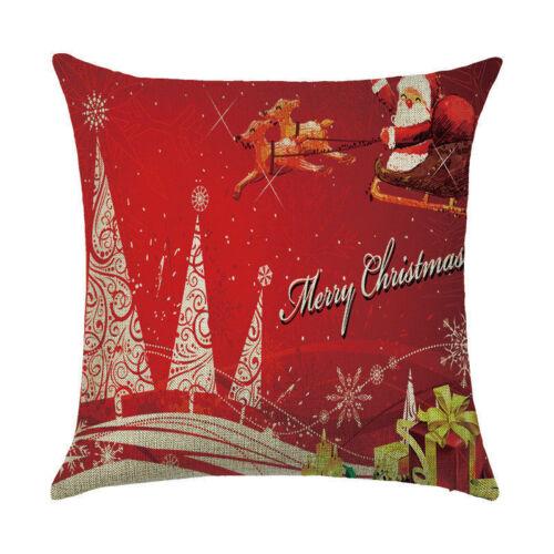 "18/"" Christmas Cushion Cover Santa Claus Pattern Square Pillow Case Sofa Car Xmas"