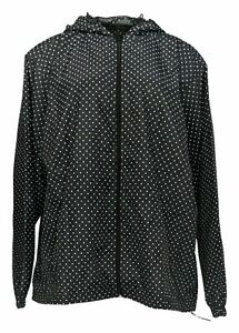 Hope-amp-Honey-Women-039-s-Plus-Sz-2X-Windbreaker-Polka-Dots-Black-White
