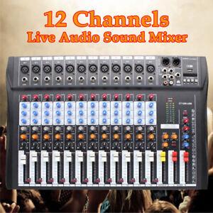 profi 12 channel live studio audio sound usb mixer digital mixing console 48v us ebay. Black Bedroom Furniture Sets. Home Design Ideas