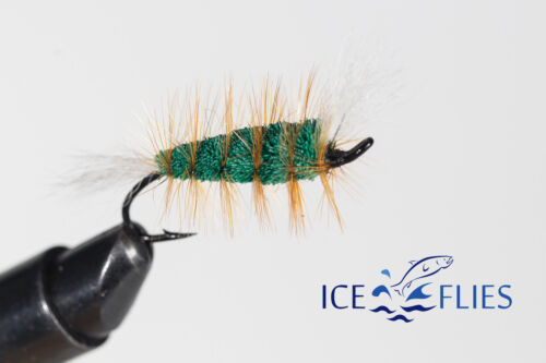 Green machine Fly Fishing Fly Bomber 3-pack ICE FLIES Pick a size