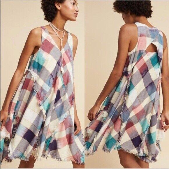 Anthropologie MAEVE Metallic Plaid Dress  S