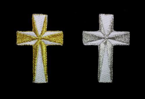 Bordado Cross en Blanco Metálico Plata Oro Hierro en apliques de parche