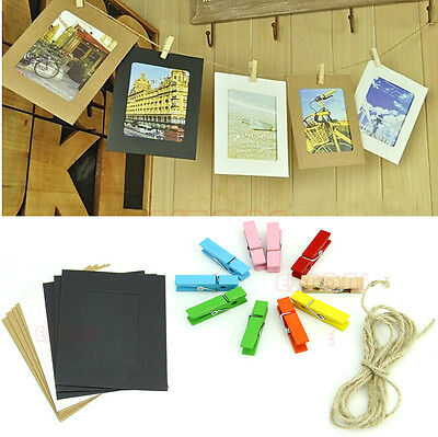 10Pcs 3Inch Cute Paper Photo Flim Frame Wall Picture Album DIY Hanging Rope Camp
