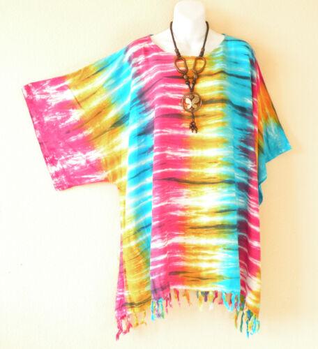 2X Tie Dye Batik Plus Kaftan Kimono Poncho Dolman Hippie Blouse Top 1X 4X 3X
