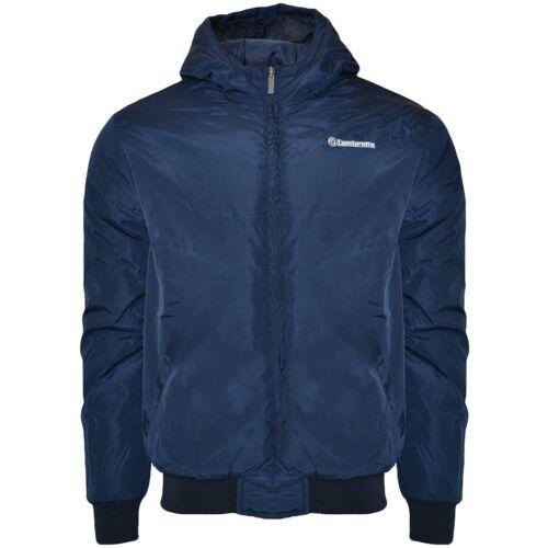 Navy Lambretta Mens Hooded Padded Long Sleeve Zip Up Winter Bomber Coat Jacket