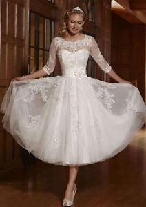 New 34 sleeve white ivory tea length bridal gown wedding dress size image is loading new 3 4 sleeve white ivory tea length junglespirit Choice Image