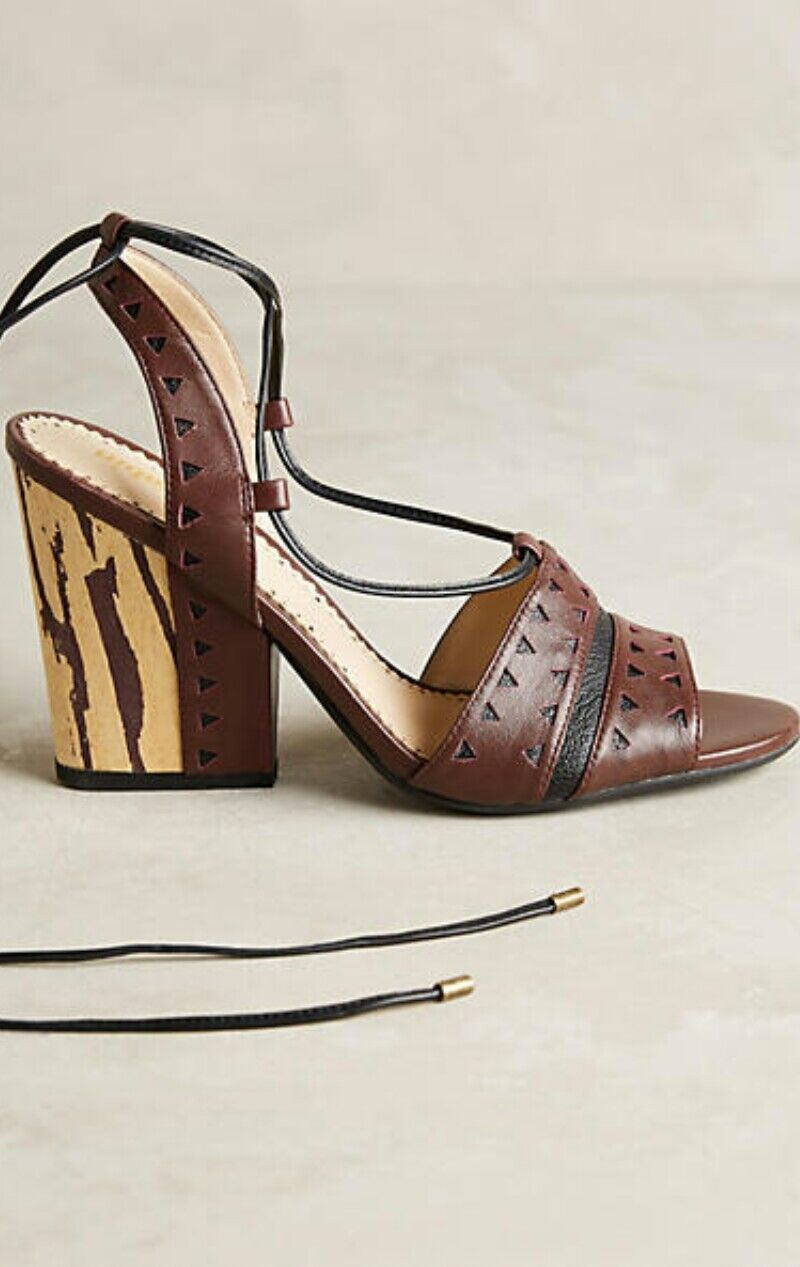 fabbrica diretta Anthropologie Caley Tie Semi Wedge Sandal by by by Farylrobin Marrone Leather 9.5  158  bellissimo