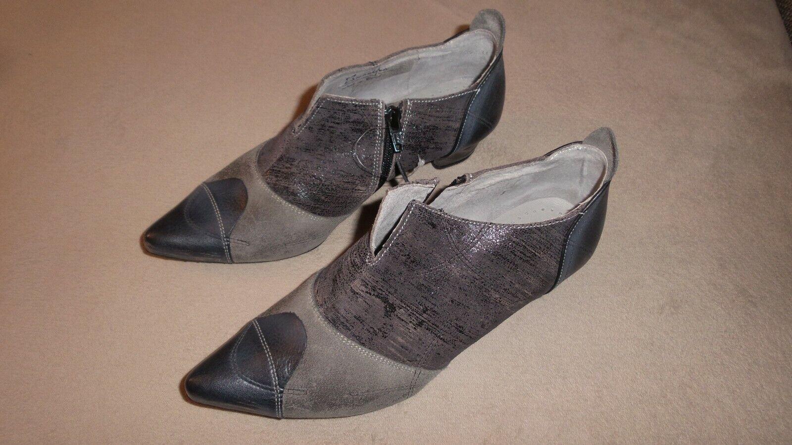 Maciejka vraiment-CUIR-chaussures basses Escarpins Bottines Taille 39  NOUVEAU  argent noir