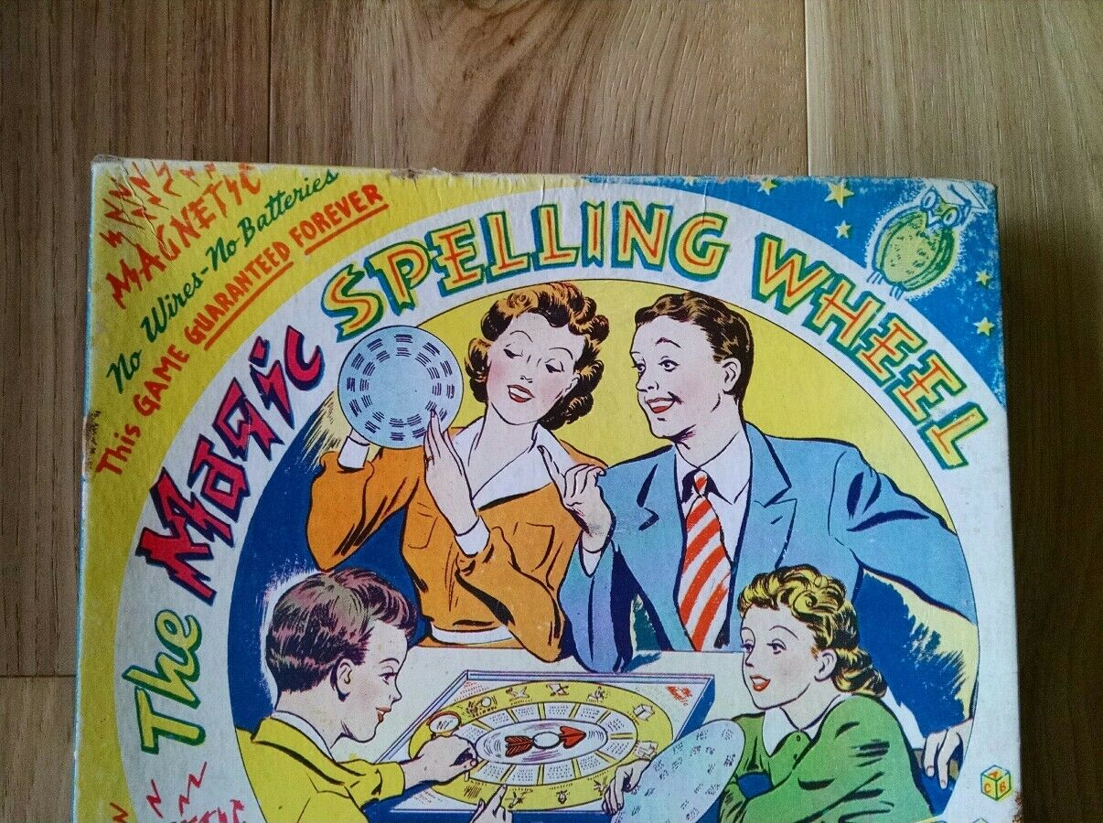 Rare Vintage Novel Toy Co. Game - The Magic Spelling Wheel - Learn to Spell -WOW
