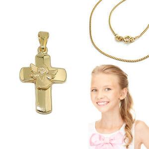 Details Zu Echt Gold 333 Kinder Taufe Kommunion Kreuz Anhänger Herz Engel Mit Silber Kette