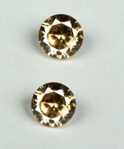Ceylon Brown Sapphire Gemstone Pair 0.84 Ct/3 mm Natural Round Certified GP15