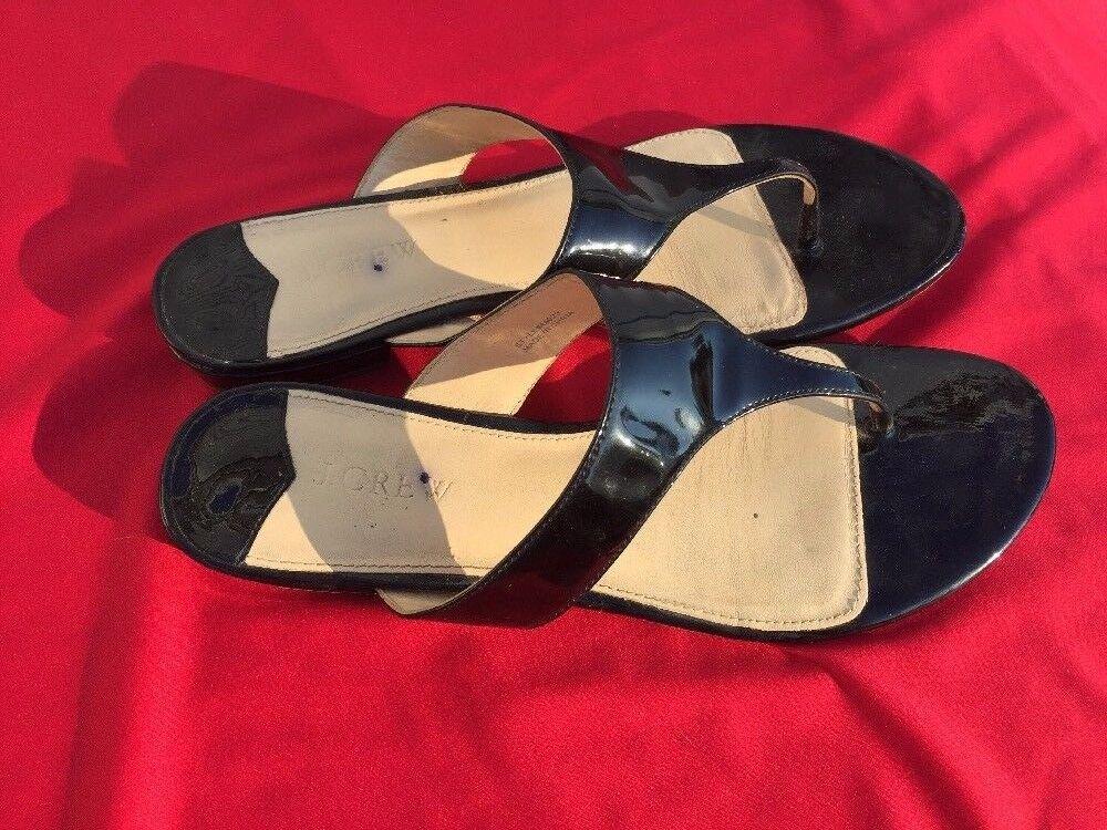 SALE @ J CREW nero Patent Leather Dress Flats Thongs Thongs Thongs Sandals scarpe donna Sz 11 0917bd