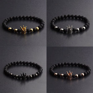 Fashion-New-Brand-Imperial-Crown-Charm-Bracelets-Men-Natural-Agate-Stone-Beads