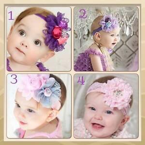 Stretch-Lace-Big-Flower-Bow-Baby-Girl-Kids-Child-Headband-Christening-Photo-Prop