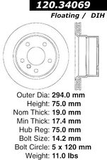 Disc Brake Rotor-High Performance Drilled Centric 128.34069L fits 03-08 BMW Z4