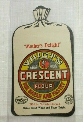 Vintage tally score card VOIGTS CRESCENT FLOUR Grand Rapids MI die cut sack nrmt