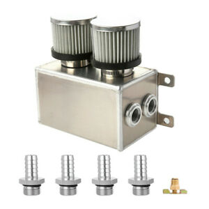 Alloy-Baffled-Engine-Oil-Catch-Can-Breather-Tank-4x-16mm-Barb-Dual-Filter-Silver
