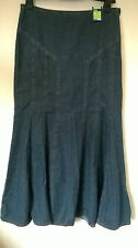 "Marks and Spencer BNWT UK 12 30"" Waist casual blue denim long A line skirt"