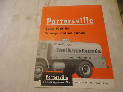 Rare 1960 Portersville Farm Pick- Up Transportation Tanks Brochure