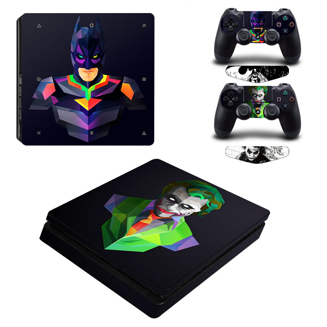 Batman and Joker Vinyl Decal Skin Sticker for PS4 Slim Console & 2 Controllers