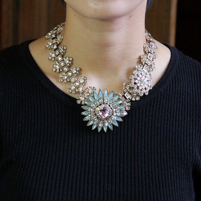 Halskette blueme Runde blue pink Kristall RAS hals- Retro Original Ehe ZR 1