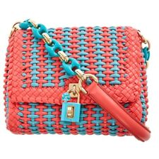 DOLCE   GABBANA Peach   Teal Miss Bonita Padlock Woven Leather Shoulder Bag 654a020de1