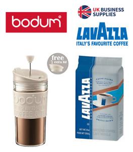 Bodum Travel Press Mug Set Coffee Maker Cream {Cafetiere 2go} & Lavazza Offer.