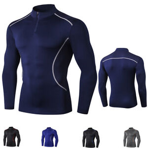Men/'s Compression T-Shirt 1//4 Zip Mock Neck Basketball Top Quick dry Breathable