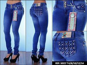 baratas para descuento 06be4 d235b Detalles de Jeans Colombianos Levanta Cola marca Mara Divine / Pantalones  Vaqueros Push Up