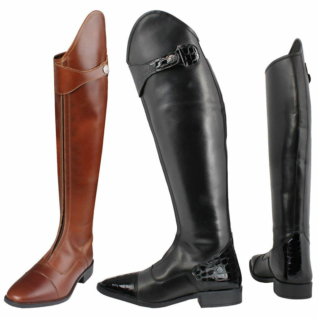 Horka Adults Leather Rubber Linsey Wooden Heal Rubber Sole Horse Riding Boots