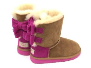 Bailey Pink Kids Wool Chestnut About Lined Details 1007933 Sheepskin Ugg Bow Boot Australia hBtsCQdxro