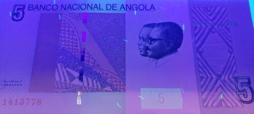 5 Kwanzas Embroidery // Ruacana waterfall  UNC 2012 UV image w//m Angola P151A